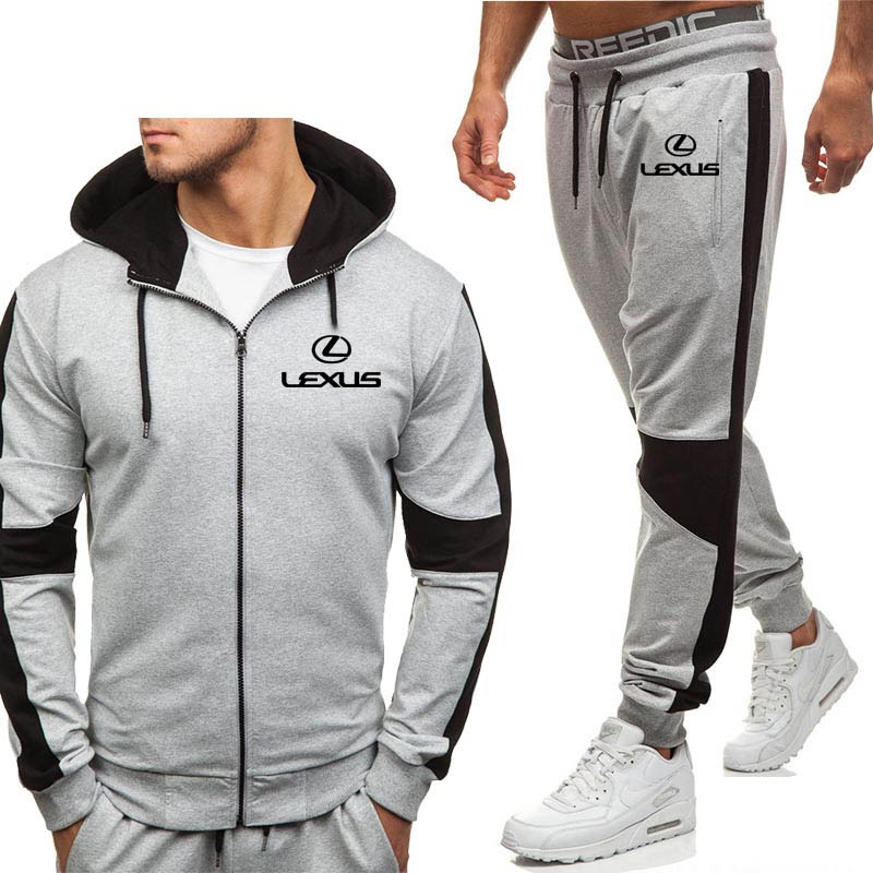 Hoodies Men Lexus Car Logo Print New Fashion Casual Harajuku Hooded Fleece Warm Zipper Jacket Sweatshirt Sweatpants Suit 2pcs