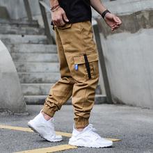 Cargo Multi spodnie kieszenie męskie jeansy Khaki kolor czarny amerykańska ulica w stylu dżinsy hip-hopowe moda męska klasyczne spodnie do biegania tanie tanio CS (pochodzenie) Zipper fly Stałe Black Color Gray Green Khaki Ołówek spodnie Medium Stonewashed W trudnej sytuacji Zniszczyć Mycia