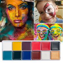 VERONNI 12 Color Body Art Paint Fluorescent Party Festival Halloween Cosplay Makeup Kids Face Paint UV Glow Painting party cosplay zombie teeth 6 color face body painting pigment white red multi color