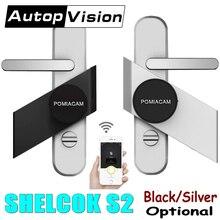 כסף/שחור שרלוק S3 חכם מקל מנעול אלקטרוני דלת מנעול Bluetooth אלחוטי Eletronic דלת מנעול חכם טלפון App בקרה