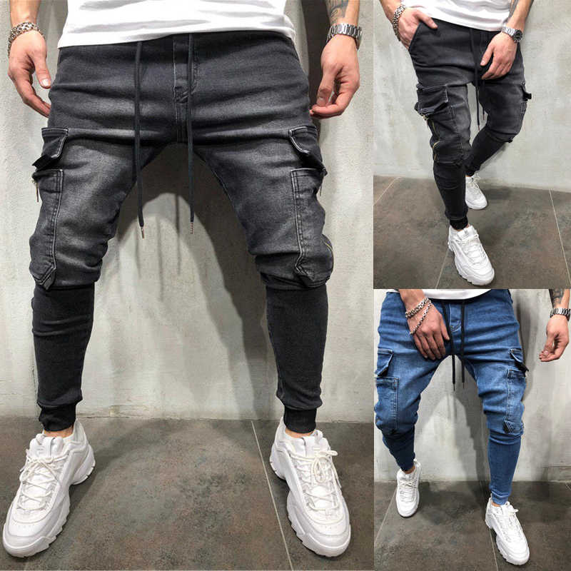 Mannen Elastische Multi-pocket Skinny Jeans mannen pocket rits potlood Broek 2019 mode jeans Casual Broek Hip hop joggingbroek