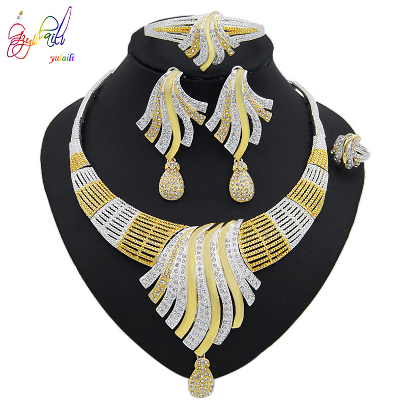 Yulaili Trendy Pendant Crystal Necklace Earrings Charm Bracelet Zinc Alloy Jewelry Sets Women Wedding Party Events Accessories