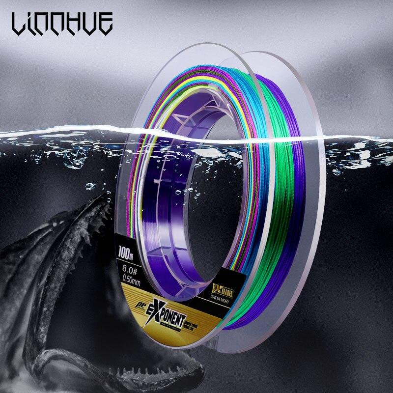 LINNHU renkli W8 W4 PE örgü misina 100m 150m 4/8 ipliklerini japonya Multifilament süper güç PE hattı 0.4/0.6/0.8/5/6/8