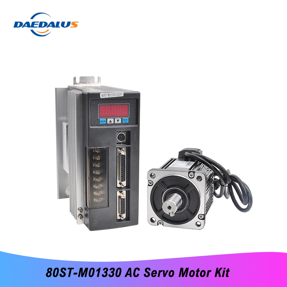 80ST-M01330 Single Phase Servo Motor Kit 400W 220V 1.27N.m AC Servo Motor Kit CNC Matched Drive With 3M Encoder Cable