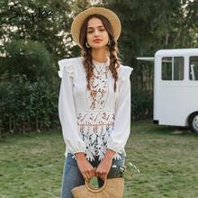 Simplee Elegant hollow out women blouse shirt Floral lace em