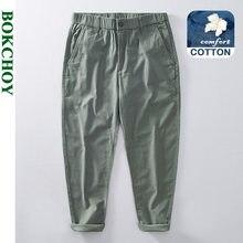 2021 novo verão casual calças masculinas de algodão fino feito reto reto reto reto reto carga calças GB-L8215