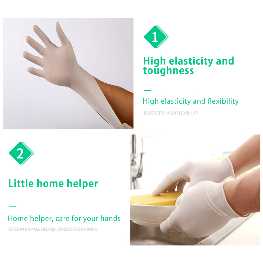 Image 5 - 100Pcs/Lot Disposable Latex Protective Gloves Non Slip Acid Laboratory Rubber Latex Gloves Household Cleaning SupplySafety Gloves   -