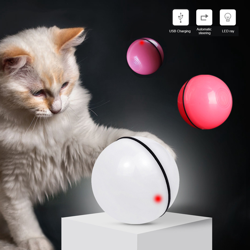 Material Saludable Interactiva Autom/ática Giratoria de 360 Grados con 2 Colgantes Reemplazables ETACCU Juguete para Gatos