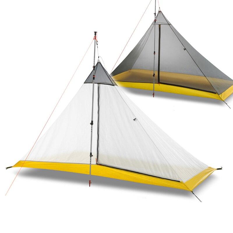 668G 40D 1-2 Pessoa barraca de Acampamento Ao Ar Livre Revestimento de Silicone Sem Haste de Nylon Pirâmide Grande Barraca de Camping 4 temporada tenda interior