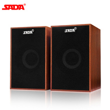 SADA V 160 USB Wired Mini Computer Speakers Bass Stereo Wooden PC Speaker Soundbar 3.5mm AUX IN for Laptop Desktop Smart Phones
