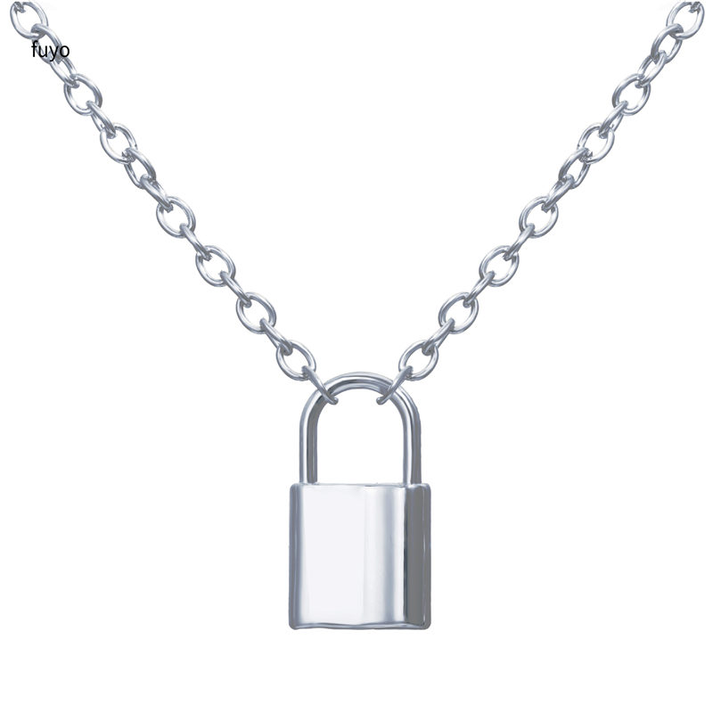 Punk Stainless Steel Color Lock Pendant Necklaces New link Chain lock Necklaces collar Femme Women Gothic Jewelry