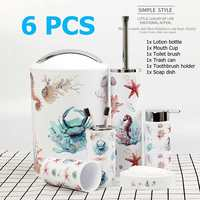 6PCS Bathroom Accessory Set Washing Tools Bottle Mouthwash Cup Soap Toothbrush Holder Waste Bin Toilet Brush Household Articles