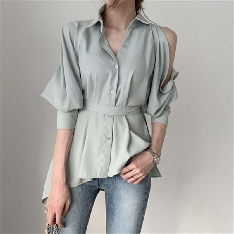 Alien Kitty Female Sweet Off Shoulders Sexy 2020 High Quality Solid Chic Elegant Vintage Loose Fashion All-Match Casual Shirts