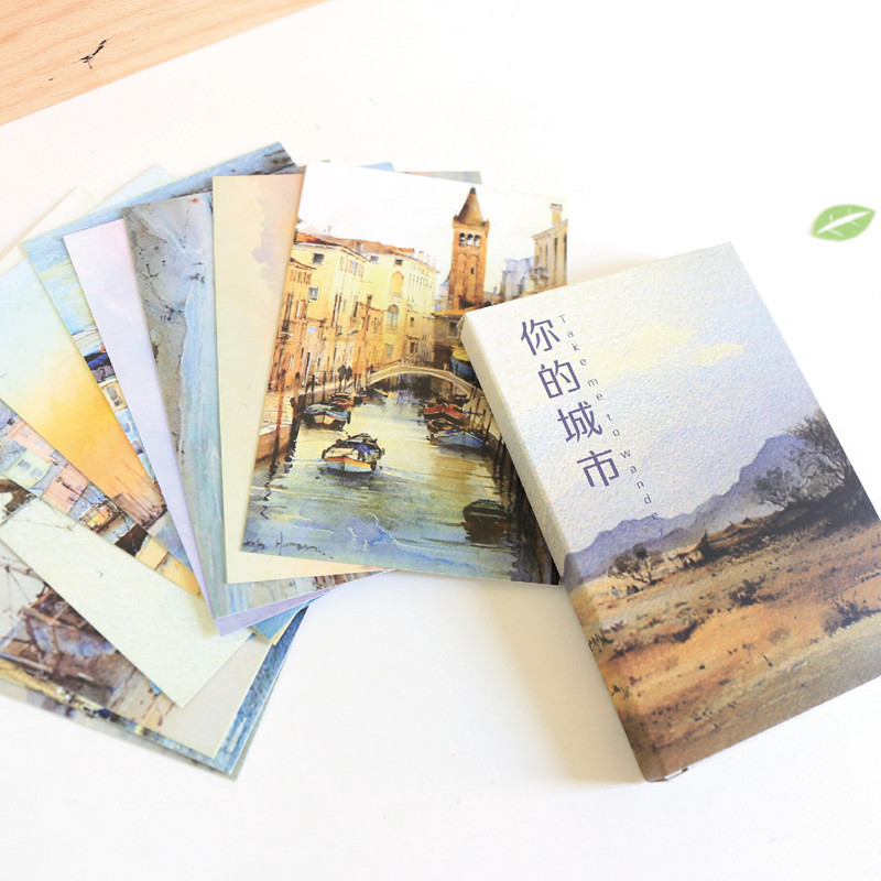 30 Pcs/set Beautiful City Scenery Postcard Vintage Style Postcard Set Greeting Cards Letter Paper Card Gift New Years Postcards