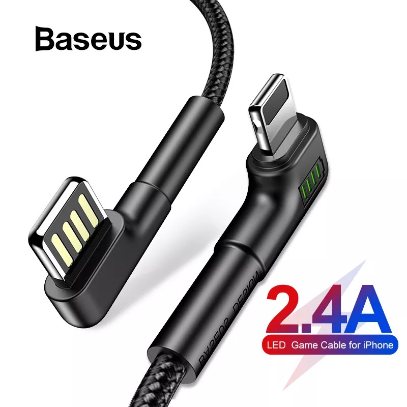 Baseus Doulbe Elbow USB Cable For IPhone XR Xs Max Xs LED 2.4A Fast Charge Cable For IPhone 7 8 XR IPad Cable For IPhone Charger
