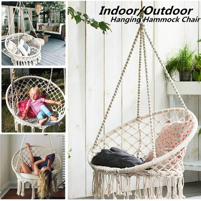 Hammock Chair Swing --- 330 Pound Capacity Handmade Knitted Hanging Cotton Rope Swing Chair for Indoor/Outdoor Home Patio Deck 2