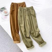 AcFirst Autumn Winter Green Women Fashion Long Pants Harem High Waist Female Casual Plus Size Sashes Corduroy