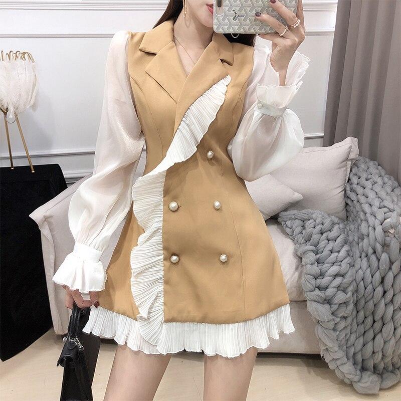 Women Suit Dress High Waist Elegant A Line Dress Korean Ruffled Notched Collar Autumn Dress Black Long Sleeves OL Short Dress
