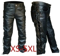 2019 Men's Thick Leather Pants Black Side Laces Up Jeans Style Long Pant Motorcycle Leather Trousers for Men Bike Pants Male