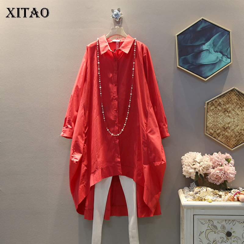 XITAO Tide Irregular Plus Size Shirt Women Clothes 2020 New Spring Turn Down Collar Full Sleeve Single Breasted Blouse  DMY2785