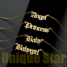 Vnistar Super Fashion Babygirl Jewelry Necklace For Women Wholesale 100% Stainless Steel Angel Baby Princess Necklaces