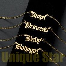Супермодное ожерелье Vnistar для девушек, ювелирные изделия для женщин, оптовая продажа, ожерелья принцессы из нержавеющей стали 100% с ангелом
