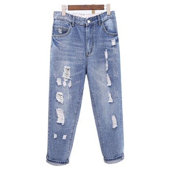 Fashion Super Large Size Mon Jeans Women Trousers Casual Ripped Hole Denim Pants Female High Waist Washed Harem Pants europe new fashion women trousers slim blue jeans woman ripped hole jeans with high waist female pencil pants large size s 2xl