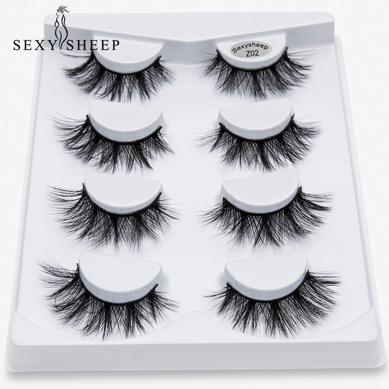 SEXYSHEEP 4pairs 3D Faux Mink Lashes Natural Long False Eyelashes Volume Fake Lashes Makeup Extension Eyelashes Maquiagem