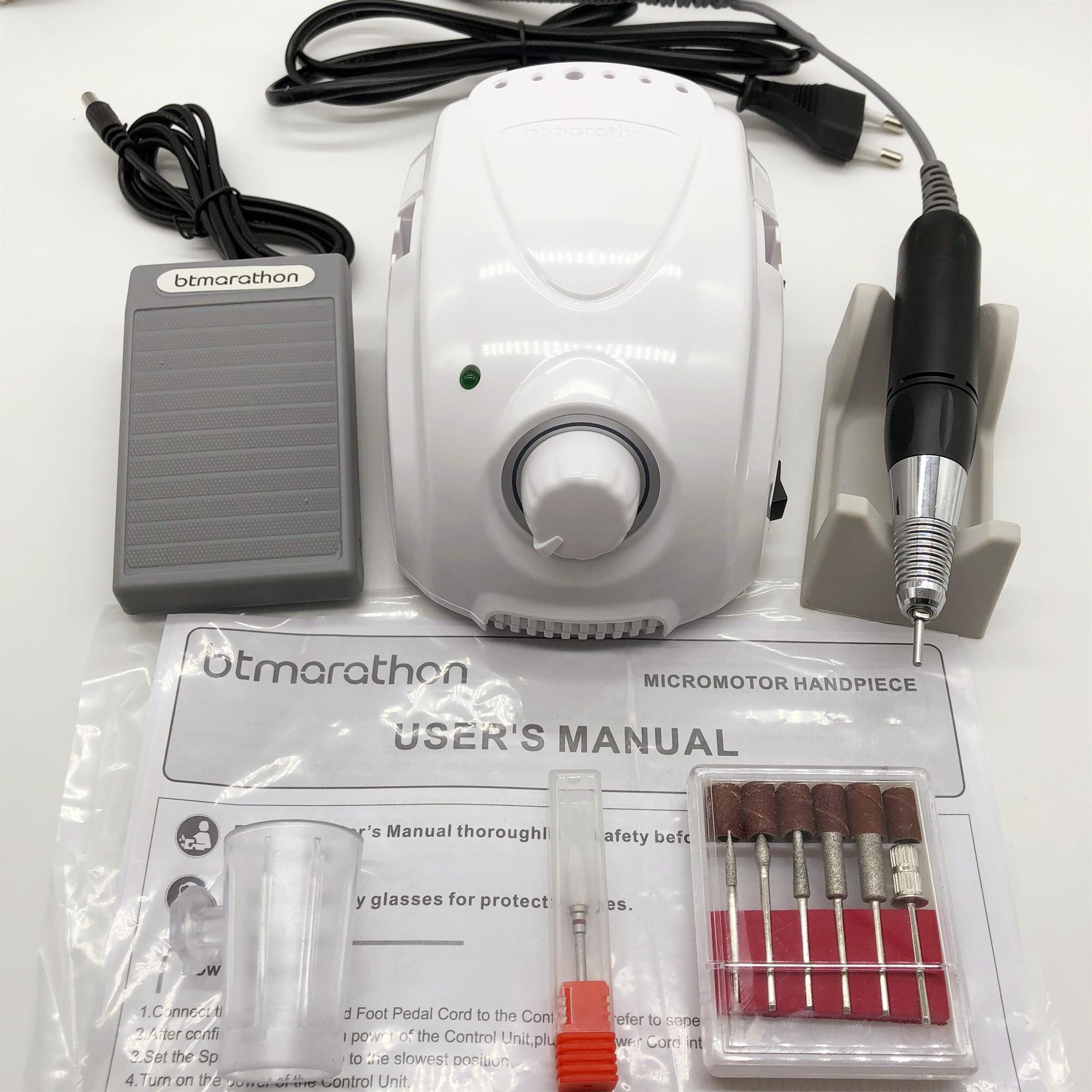 btmarathon caixa de controle 65w 35000rpm preto alta qualidade broca profissional manicure pedicure unha arte polimento