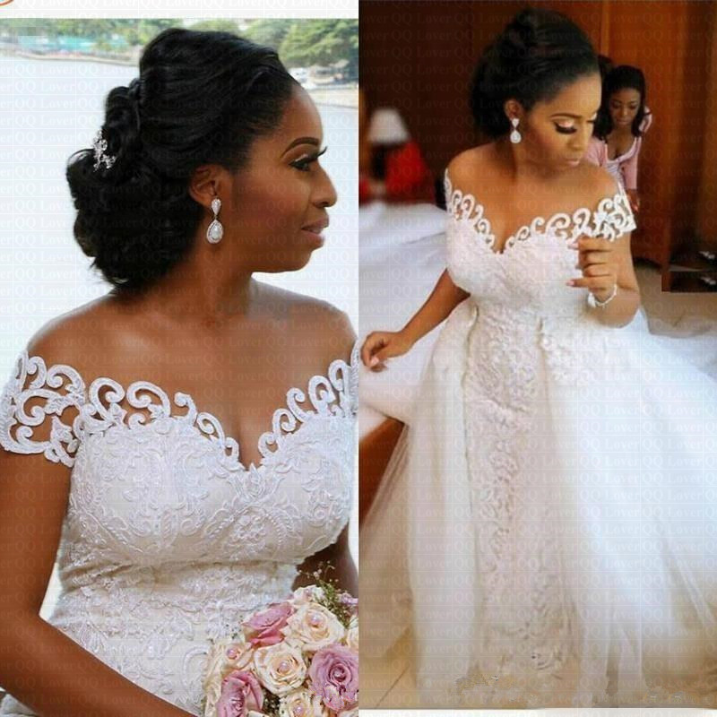 Amazing Off The Shoulder Arabic Mermaid Wedding Dress 2020 With Detachable Train Lace African Wedding Gown