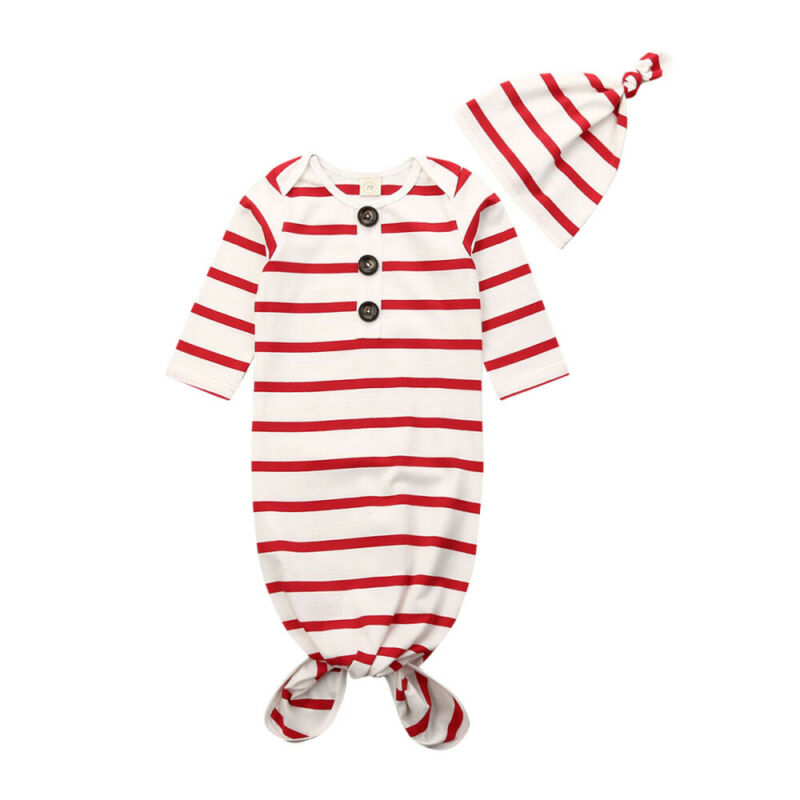 Brand New Newborn Baby Girl Boy Stripe Cotton Swaddle Wrap Blanket Sleeping Bag Romper+Hat Set 0-6M