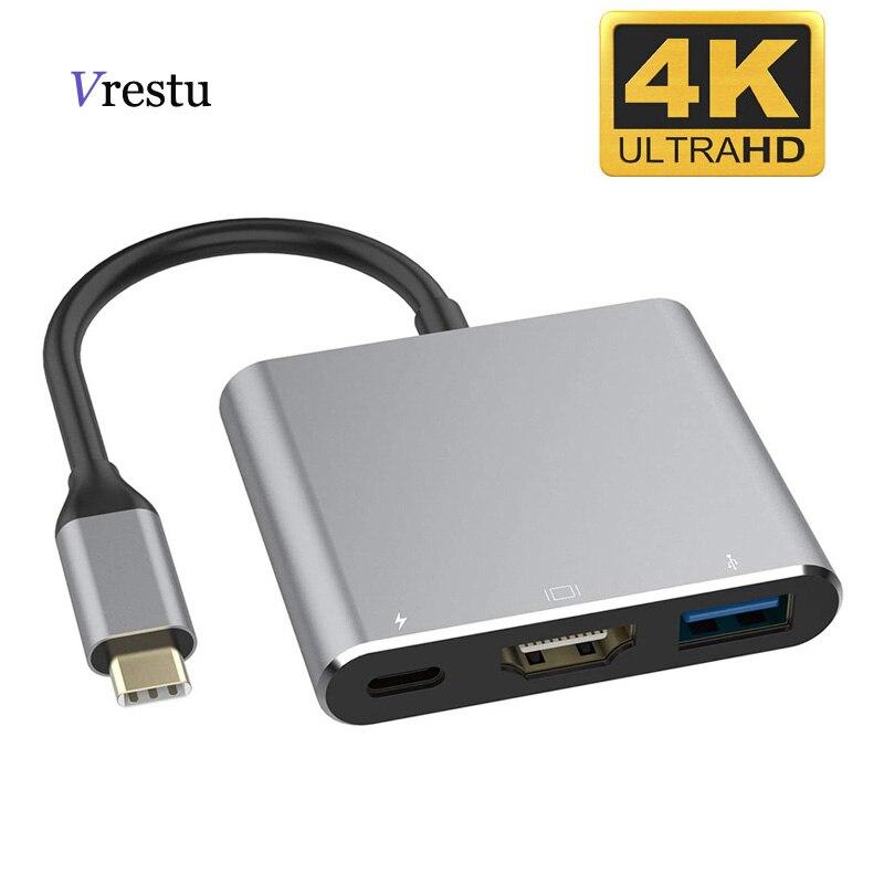 Тип C концентратор Hdmi-совместимого адаптера для Macbook Pro/воздуха с 3 портами (стандарт USB Tipo концентратор для видео в формате 4K USB 3,0 Порты и разъ...
