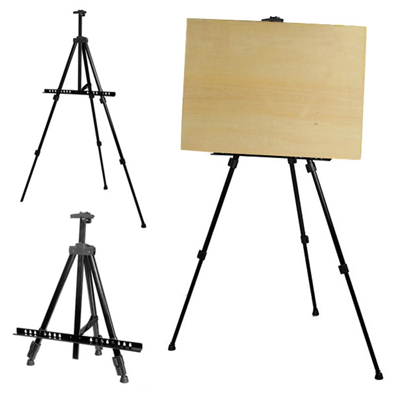 Adjustable Tripod Folding Easel Display Art Artist Sketch Painting Exhibition Aluminium Alloy Silver Black With A Nylon Bag