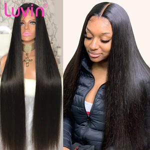 Luvin Wigs Human-Hair Lace-Front Density Glueless Pre-Plucked 250 13x6 Straight Women