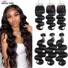 Ishow Body Wave Transparante Vetersluiting met Bundels Niet Remy Human Hair Bundels met Sluiting Maleisische Bundels met Sluiting