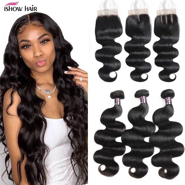 Ishow Hair Bundles and Closure Body Wave Bundles with Closure Brazilian Hair Weave Bundles with Closure Good For 4x4 Closure Wig