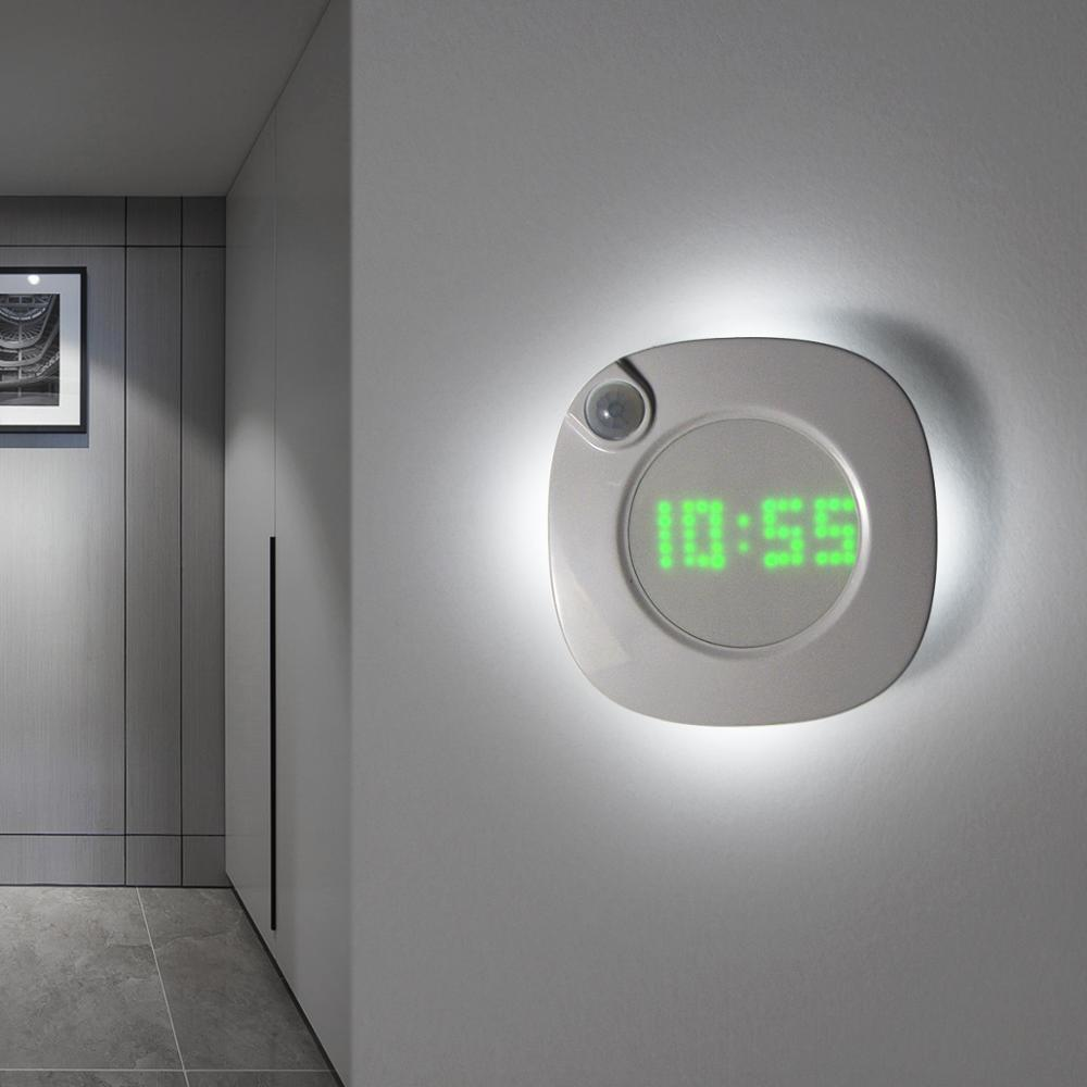 Wall-Clock Toilet Led-Lights Battery-Powered Smart-Sensor Bedroom Night-Home-Clock Kitchen title=