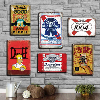 Vintage Beer Poster Metal Tin Sign Retro Corona Wall Sticker Decorative Plaques Shabby Chic Pub Bar Home Decoration Plates beer tin sign metal car plate license vintage shabby pub bar wall plaques posters restaurant rome decor metal hanging paintings