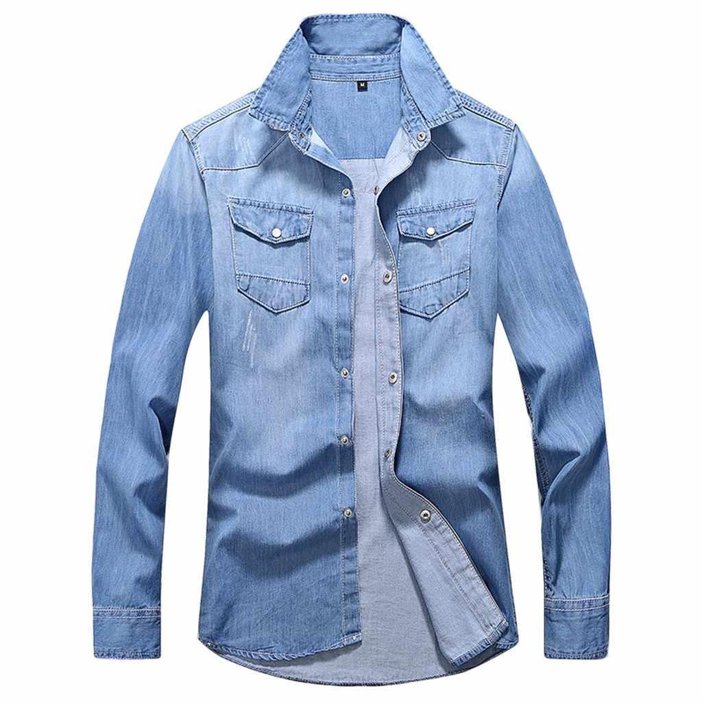 Feitong メンズ秋冬カジュアルなシャツ長袖ポケットシャツソフトブラウス中国用のカラーシャツ # g45