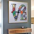 Современная Абстрактная Картина граффити с надписью «LOVE» на холсте, акварельные плакаты и принты, настенные картины для украшения гостиной
