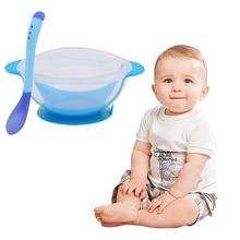 Детская обучающая посуда с присоской, Детская безопасная столовая посуда, набор, вспомогательная чаша, температурная Чувствительная ложка, посуда, тренировочная миска