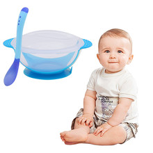 Baby Learning Dishes With Suction Cup Kids Safety Dinnerware Set Assist Bowl Temperature Sensing Spoon Tableware training Bowl(China)