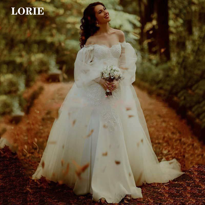 Lorie Lace Mermaid Wedding Dress With Detachable Train Vestido De Novia Puff Sleeve Boho Bridal Dress Wedding Gown