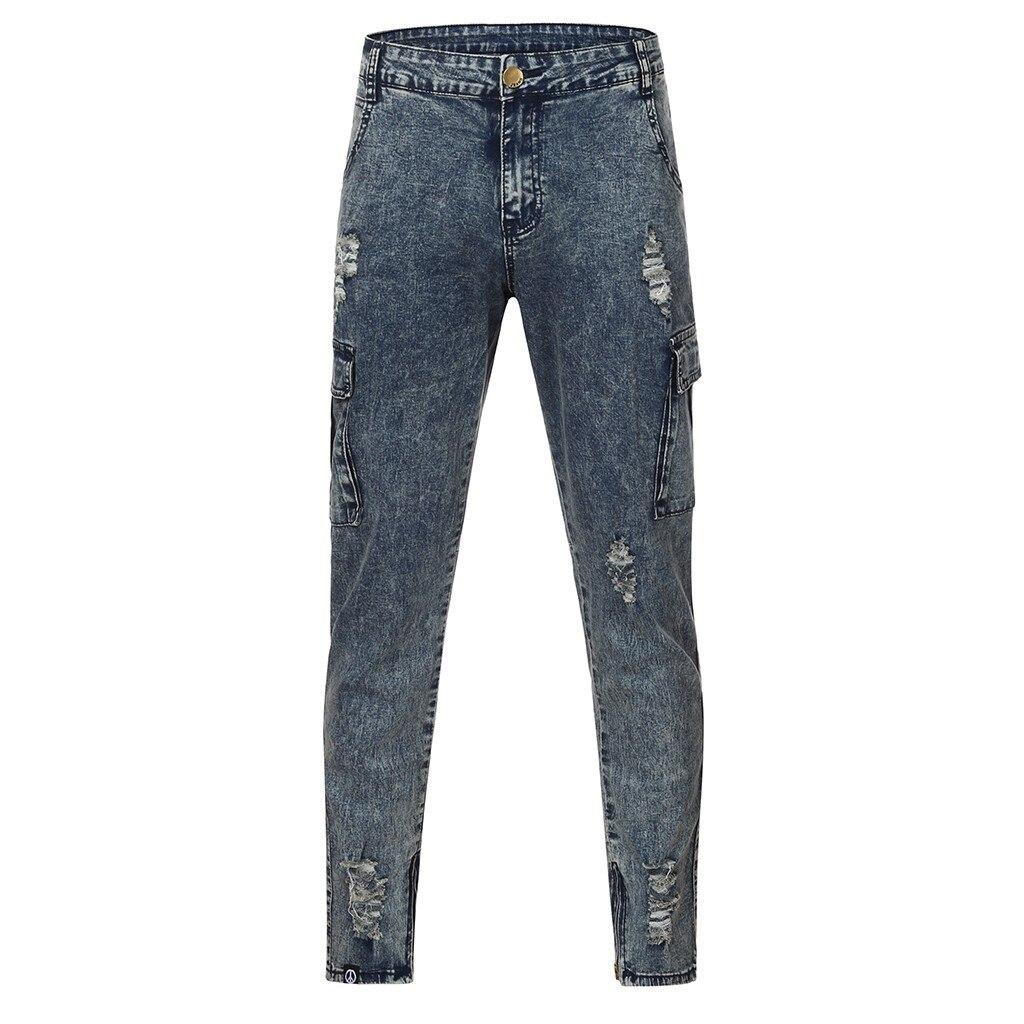 Men's Fashion Causal Pocket Zipper Slim Fit Shredded Denim Long Jeans Pants Zipper Designer Jeans Mens Jeans Trousers 1.14