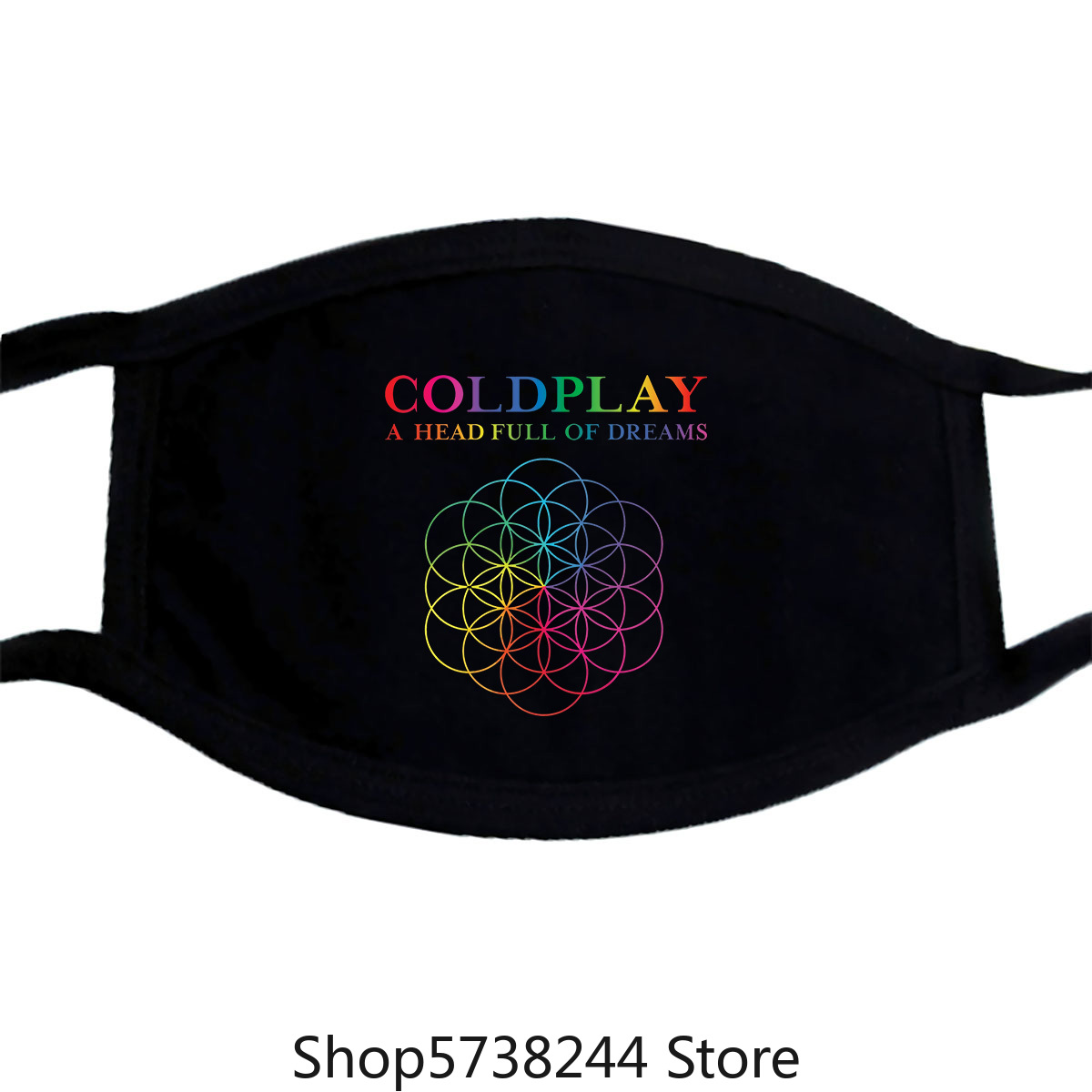 Coldplay A Head Full Of Dreams Mens Black Cotton Top Mask Tee New Washable Reusable Mask With