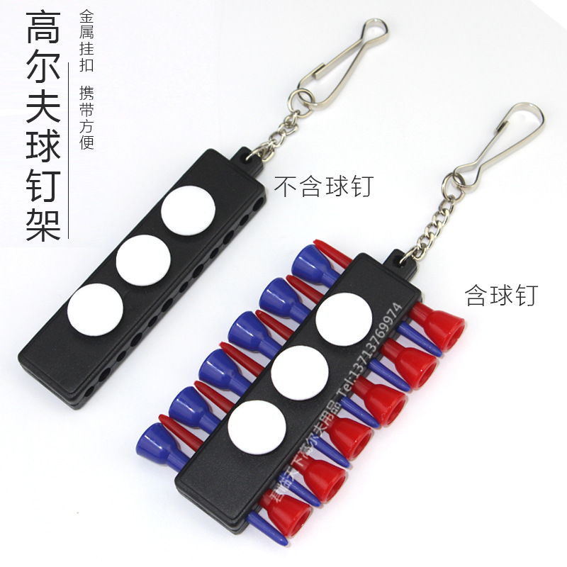 Golf Tee Rack Ball Studs Clip Golf Sleeves Metal Hanging Buckle With 3 Capsules Ballmarker 12 Ball Studs Bit