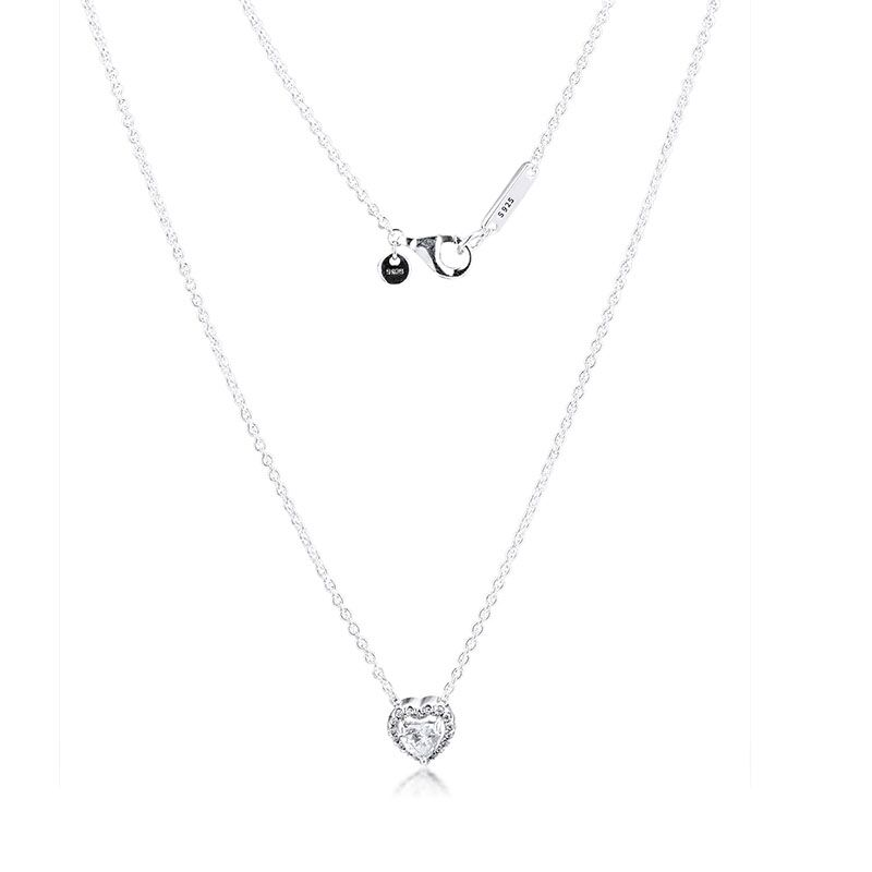 Image 3 - CKK Dangling Sparkling Heart Necklace Choker Pendant Colgantes Chakra Collares Pingente 925 Sterling Silver Women JewelryChain Necklaces   -