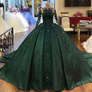 Изумрудное Зеленое Длинное платье Quinceanera с рукавом, бальное платье размера плюс 15 лет, 16 пышных маскарадных платьев для выпускного вечера