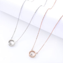 Women's Simple Small Round Pendant Necklace Dinner Fashion Charm Clavicle Chain Valentine's Day Gift Personality Design Pendant