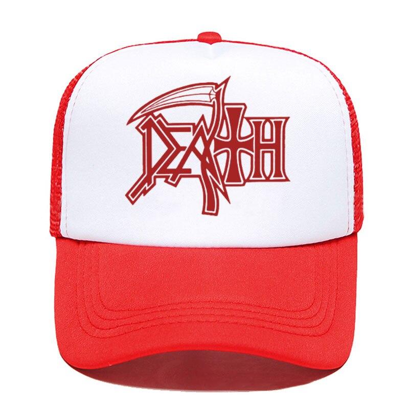 DEATH bluzy zespół rockowy HEAVY METAL czapka z daszkiem kobiety mężczyźni Unisex 2020 lato rodzic-dziecko kapelusze Mesh Visor Outdoor Sun Hat